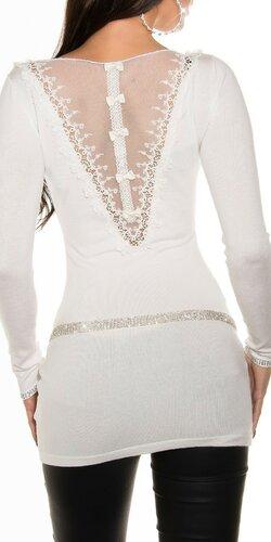 Biely sveter s čipkou na chrbáte do tvaru V | Biela