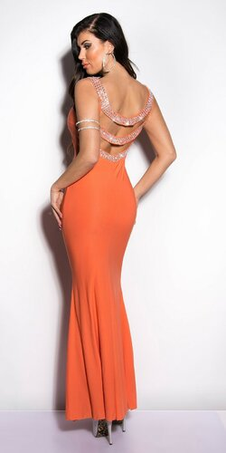 Dámske maxi šaty zdobené kamienkami | Koralová