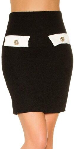 Mini sukňa Bouclé | Čierna