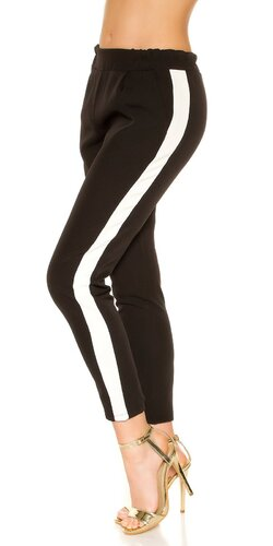 Nohavice s kontrastným pásikom | Čierna