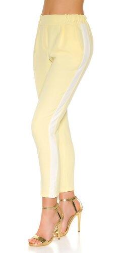 Nohavice s kontrastným pásikom | Žltá