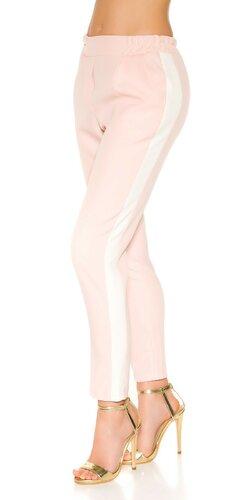 Nohavice s kontrastným pásikom | Bledá ružová