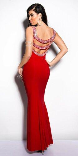 Dámske maxi šaty zdobené kamienkami Červená