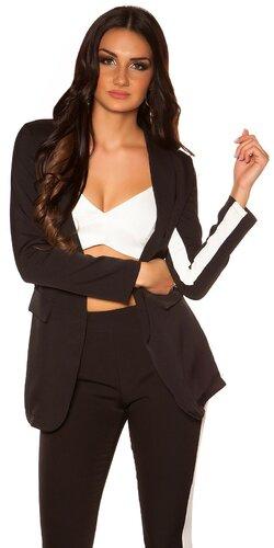 Dámsky blazer s kontrastným pásikom | Čierna