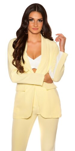 Dámsky blazer s kontrastným pásikom | Žltá
