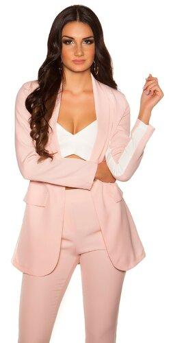 Dámsky blazer s kontrastným pásikom | Bledá ružová