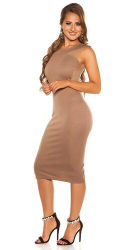 Midi šaty na ramienka | Cappuccino