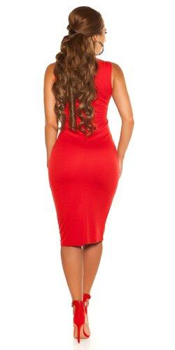 Midi šaty na ramienka | Červená