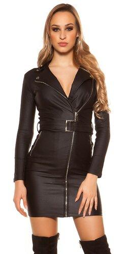 Kožené mini šaty s opaskom | Čierna