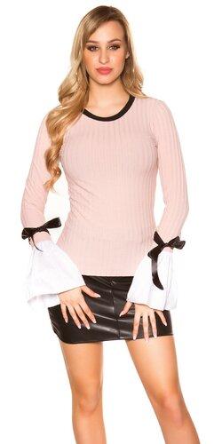 Pletený sveter so zvoncovými rukávmi | Bledá ružová