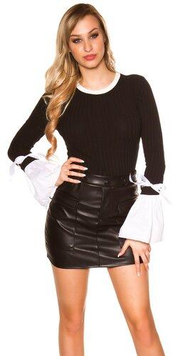 Pletený sveter so zvoncovými rukávmi | Čierna