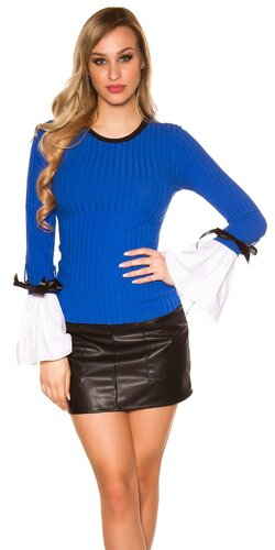 Pletený sveter so zvoncovými rukávmi | Modrá