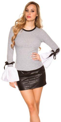 Pletený sveter so zvoncovými rukávmi | Šedá