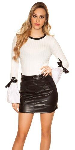 Pletený sveter so zvoncovými rukávmi | Biela