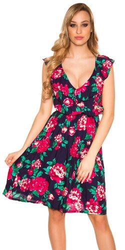 Dlhé kvietkované šaty na ramienkach | Tmavomodrá
