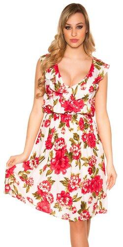 Dlhé kvietkované šaty na ramienkach | Biela