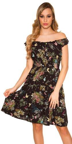 Letné šaty na ramienkach | Čierna