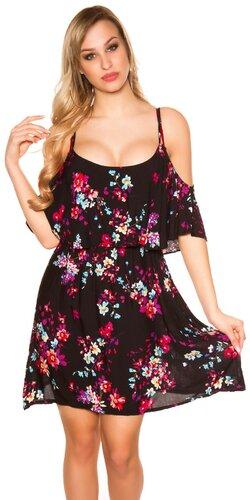 Kvetinové šaty s potlačou na ramienkach | Čierna