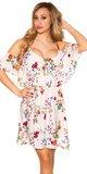 Kvetinové šaty s potlačou na ramienkach Krémová