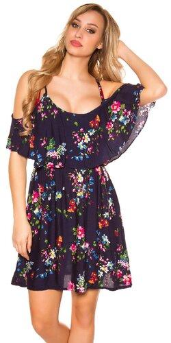 Kvetinové šaty s potlačou na ramienkach | Tmavomodrá
