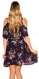 Kvetinové šaty s potlačou na ramienkach Tmavomodrá
