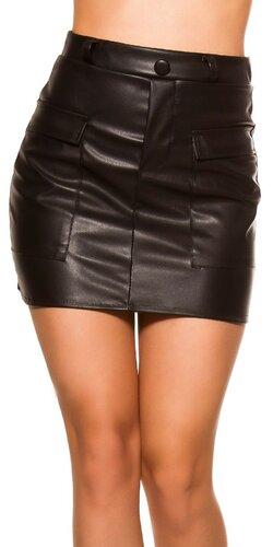 Kožená sukňa s vreckami | Čierna