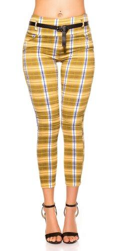 Dámske kárované nohavice | Žltá