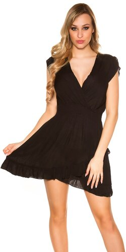 Jednofarebné letné mini šaty | Čierna