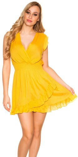 Jednofarebné letné mini šaty | Horčicová