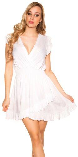 Jednofarebné letné mini šaty | Biela