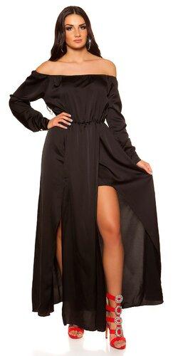 Saténové maxi šaty s vlečkou | Čierna