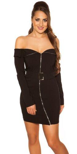Mini šaty so šikmým zipsom KouCla | Čierna