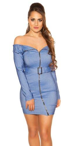 Mini šaty so šikmým zipsom KouCla | Modrá