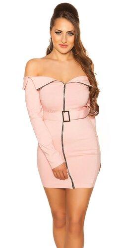 Mini šaty so šikmým zipsom KouCla | Bledá ružová