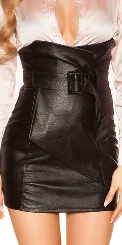 Zavinovacia kožená sukňa nad pás | Čierna