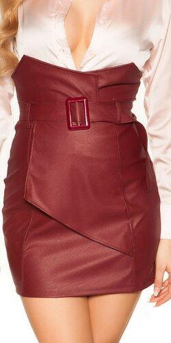 Zavinovacia kožená sukňa nad pás | Bordová