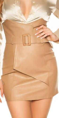 Zavinovacia kožená sukňa nad pás | Cappuccino