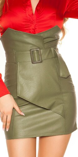 Zavinovacia kožená sukňa nad pás | Khaki