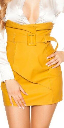 Zavinovacia kožená sukňa nad pás | Horčicová