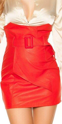 Zavinovacia kožená sukňa nad pás | Červená