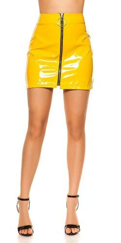 Lakovaná sukňa | Žltá