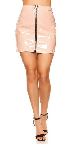 Lakovaná sukňa | Bledá ružová