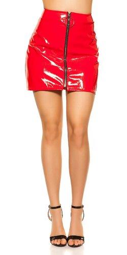Lakovaná sukňa | Červená