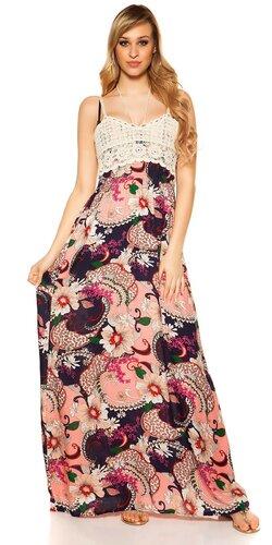 acad2831f49f Letné maxi šaty s kvetinovou potlačou