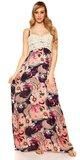 Letné maxi šaty s kvetinovou potlačou Tmavomodrá