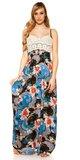 Letné maxi šaty s kvetinovou potlačou Čierna