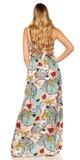 Letné maxi šaty s kvetinovou potlačou Biela