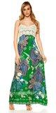Letné maxi šaty na ramienka Zelená