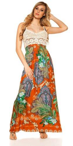 Letné maxi šaty na ramienka | Oranžová