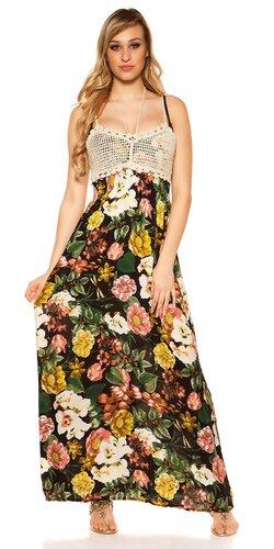 Kvetinové letné maxi šaty | Čierna